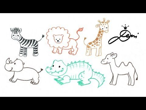 Ganz Einfach Tiere Zeichnen Zoo Schnell Malen How To Draw Animals Kak Se Risuvat Lesni Zhivo Youtube Animal Drawings Drawings Animals