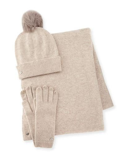 Ugg+Wool+Blend+Gloves+Beanie+Scarf+Natural+|+Neckwear+and+Accessory