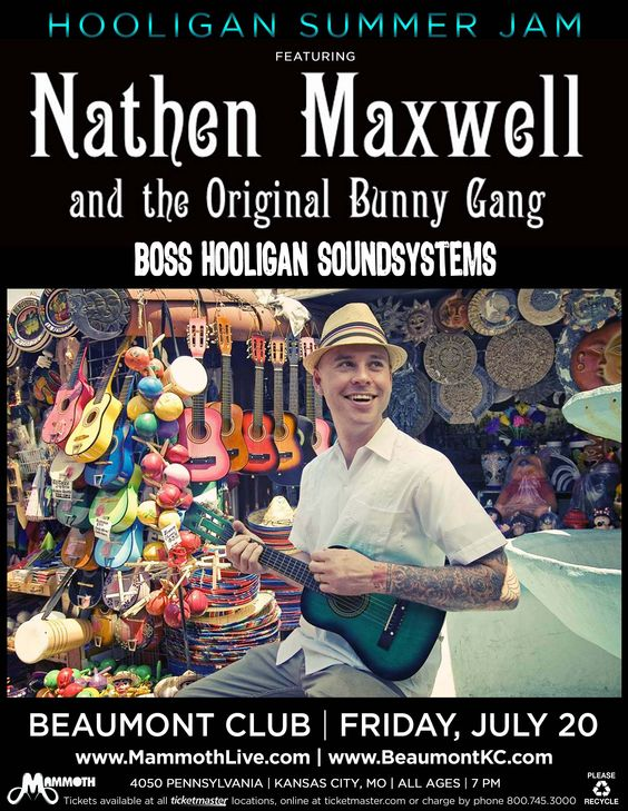 Nathen Maxwell and the Original Bunny Gang - July 20th at The Beaumont Club. www.facebook.com/itsmammoth:  Dust Wrapper, Original Bunny,  Dust Jacket,  Dust Cover, The Originals