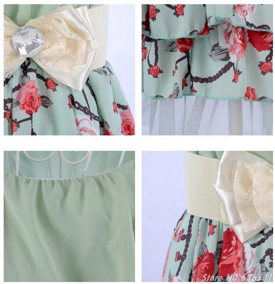 Novo 2014 a primavera eo verão vestido Casual bonito magro temperamento doce princesa Chiffon de manga curta flor imprimir vestidos com cinto em Vestidos de Roupas e Acessórios no AliExpress.com | Alibaba Group