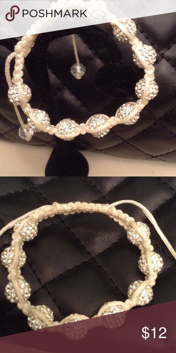Shamballah white wrote crystal bracelet NWOT New white rope shamballah crystal bracelet. Adjusts to fit most wrists. Shamballah Jewelry Bracelets
