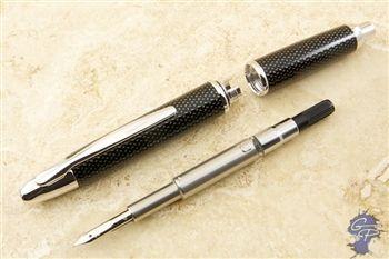 Pilot Vanishing Point Fountain Pen - Black Carbonesque with Rhodium Accents, Medium $140.00