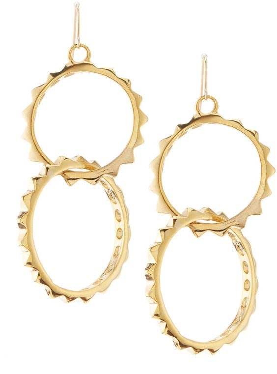 Kenneth Jay Lane Double Link Pyramid Stud Earrings, Golden on shopstyle.com