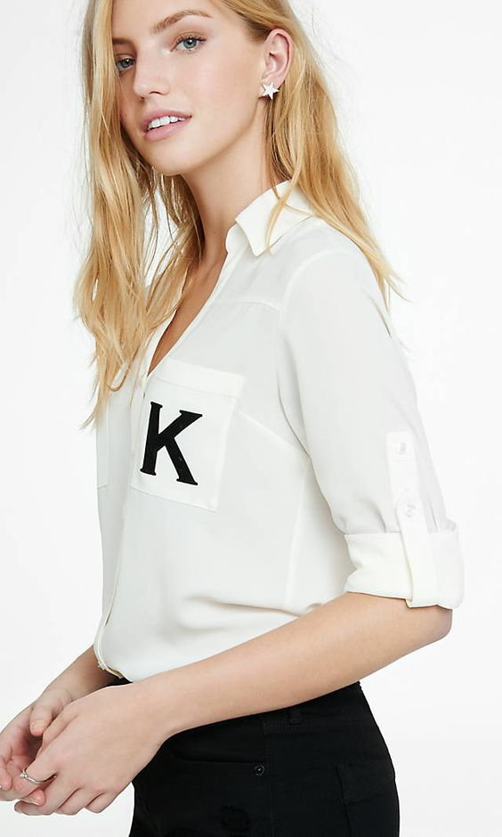 Original Fit Monogrammed K Portofino Shirt from EXPRESS