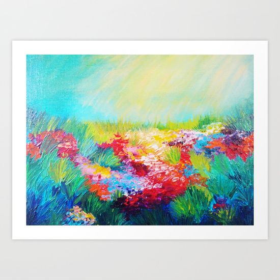Buy ETHERIAL DAYS - Stunning Floral Landscape Nature Wildflower Field Colorful Bright Floral Painting by EbiEmporium