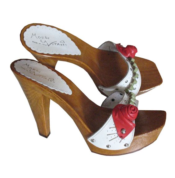 white wooden heel mules with red flower