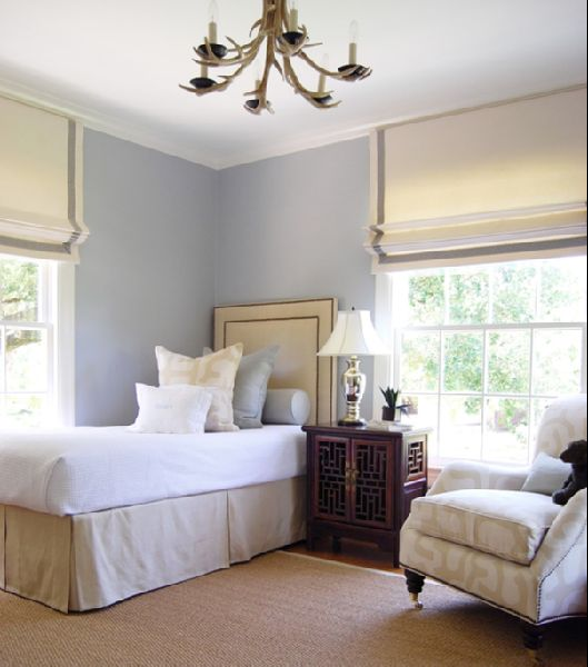 caitlin wilson design: style files: January 2011 - white roman shades with gray trim: Guest Room, Guestroom, Wall Color, Guest Bedroom, Boys Room, Boy Room