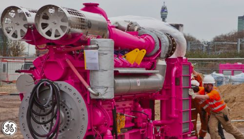 """This """"Pink Panther"""" Jenbacher engines supply enough electricity to reduce London's annual carbon footprint by 13,000 tons of CO2."""