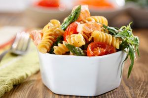Barilla® Plus® Rotini with Asparagus, Salmon and cherry tomatoes
