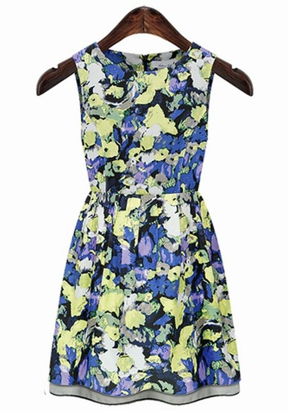 Blue Floral Sleeveless Wrap Cotton Mini Dress