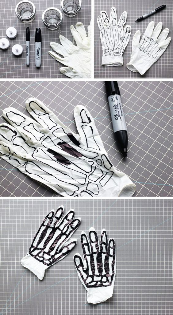 Passend zu einem Skelettkostüm: Einfach weiße Handschuhe mit einem schwarzen Edding bemalen.