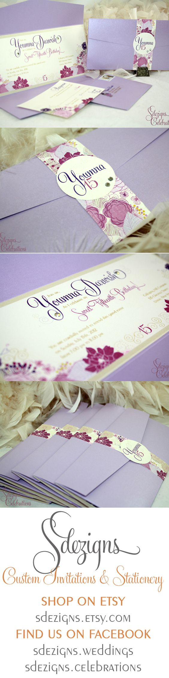 These gorgeous Flower Garden inspired invitations were designed for a quinceanera. A mix of lavender, pinks, purples and creams make up the flower garden design