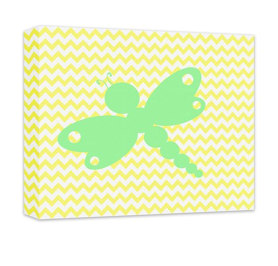 """Dragonfly I Canvas and Print Wall Art. Children's dragonfly design, wall art for kids in gallery wrapped canvas and prints. Baby Nursery, Kids Bedroom, Girl's Room, Boy's Room, Play Room, Children's Bathroom, Recreation Room, light green on pale yellow chevron. Available in .75"""" or 1.5"""" thick artist grade hand-stretched canvas or professional luster print, FREE personalization, add in comments if desired."""
