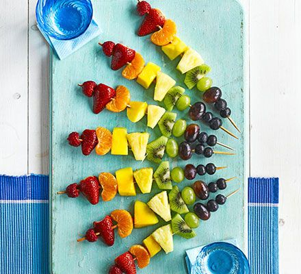 Rainbow fruit skewers. These vitamin-packed fruit skewers are a simple, colourful and fun way to get kids to eat fruit. They'll love helping to make them too.