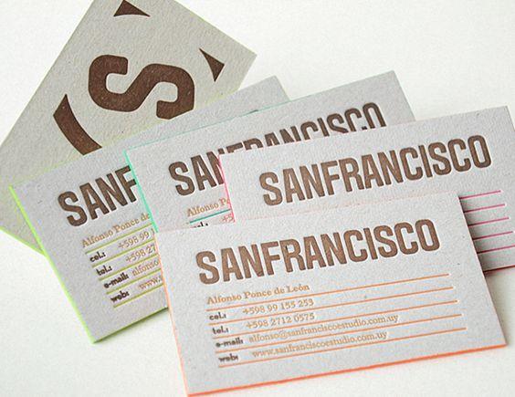 Sanfrancisco by Sanfrancisco, via Behance Business cards - cartes de visite letterpress