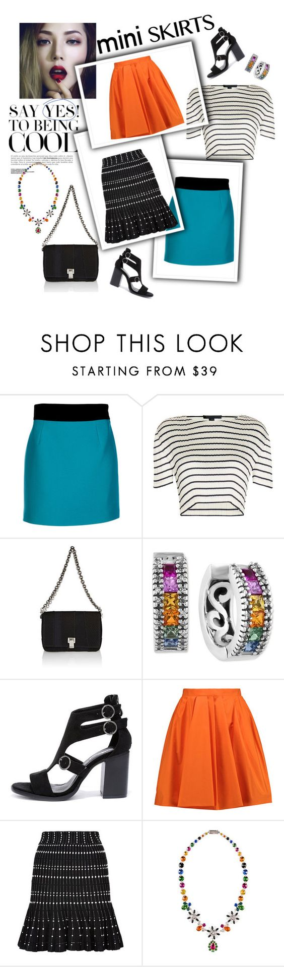 """""""Mini me: mini skirts"""" by tippy1717 on Polyvore featuring FAUSTO PUGLISI, Alexander Wang, Proenza Schouler, Effy Jewelry, Cape Robbin, Carven, Alexander McQueen and Miu Miu"""