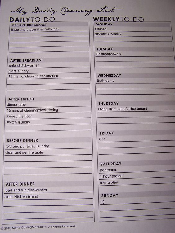 Cleaning List & Annual Cleaning List