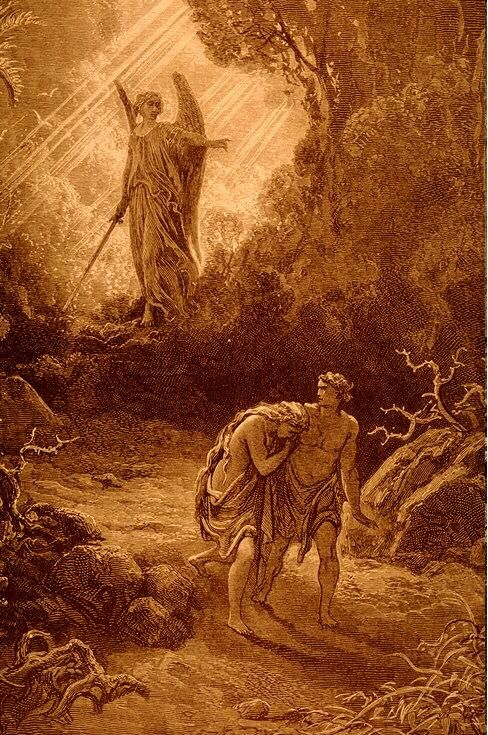 """Gustave Dore's """"Adam and Eve Cast Out"""" http://www.fivefoldministryireland.com:"""