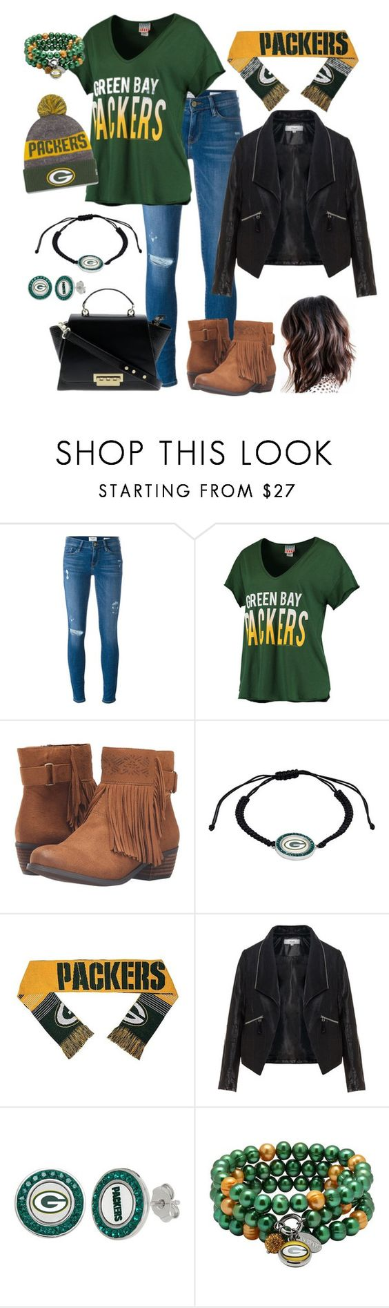 """Realm of the Packers"" by esmkay ❤ liked on Polyvore featuring Frame Denim, Junk Food Clothing, Not Rated, Zizzi, New Era and gameday"