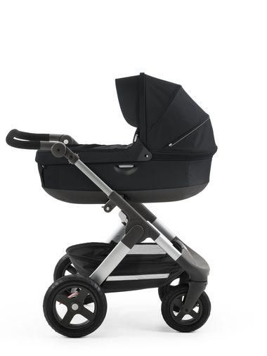 Stokke Trailz with Stokke Stroller Carry Cot Black Accessory –All Terrain Stroller with XL Shopping Basket and Large Air-Filled tires for All Season Strolling