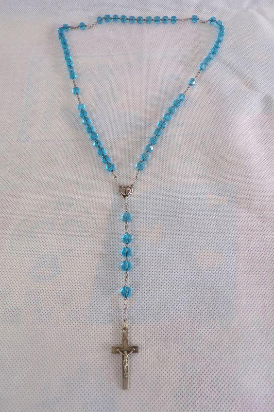 Chapelet ancien perles bleues en verre / rosary / old rosary / catholic rosary / gothique / collier / necklace / vintage rosary / de la boutique decobrock sur Etsy