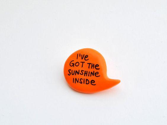 Neon brooch orange polymer clay balloon speech by madamaRobe - €10.00 or about $13.42 USD