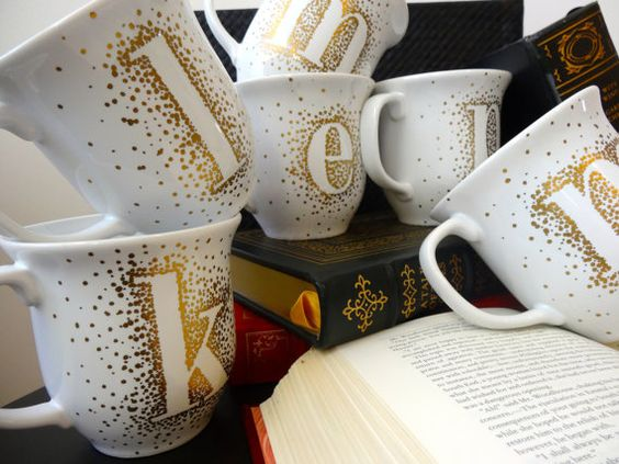 Gold Monogram Mugs by AnchoredinHope on Etsy