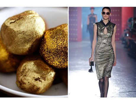 METALLIC BROCADES | GOLD CHOCOLATE TRUFFLES | Babble