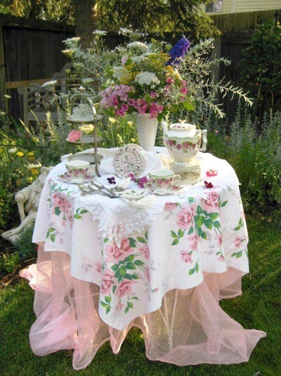 Lovely table for outdoor tea.