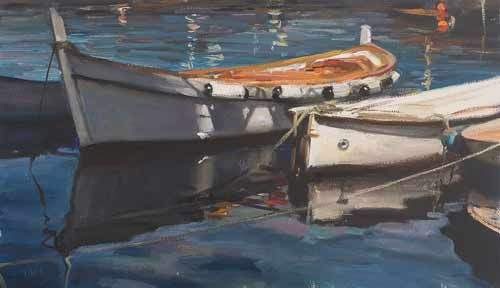 daily painting titled Moored boats at Camogli
