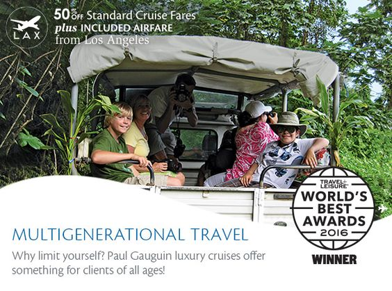"""Paul Gauguin Cruises -  Paul Gauguin Cruises prides itself on being a family-friendly cruise line and even was voted """"#1 Small-Ship Cruise Line for Families"""" in the Travel + Leisure World's Best Awards. Here are just a few of the selling points that will help you sell a luxury cruise aboard the m/s Paul Gauguin to clients of all ages:  Youth program available on select summer and holiday cruises Complimentary watersports on every voyage, as well as an onboard pool Shore excursions to entic"""
