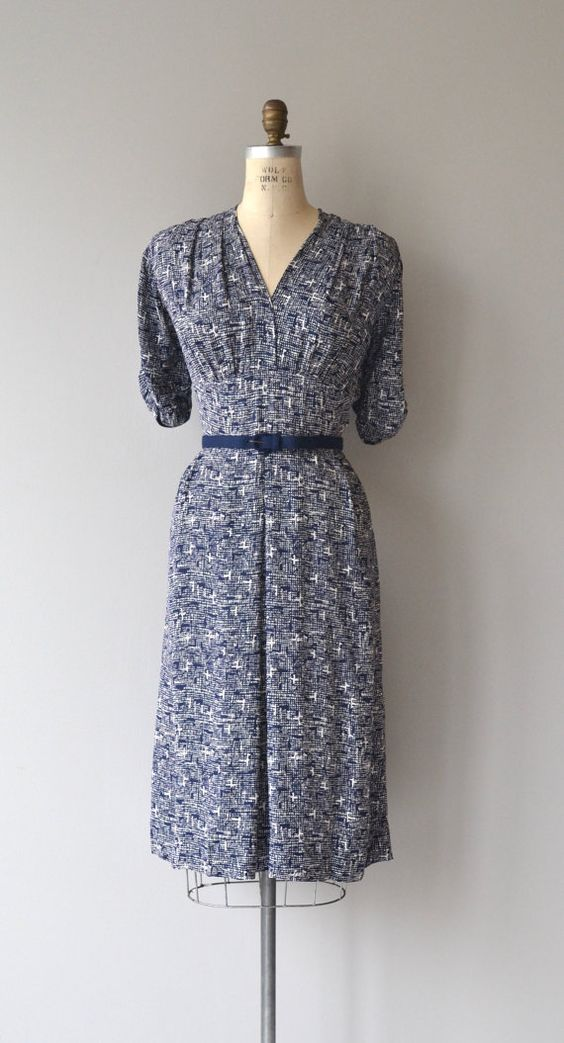1940s Day Wear: 1940s, Day Dresses And Navy Blue On Pinterest
