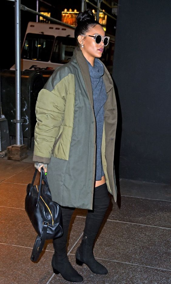 Rihanna topped off her gray sweater dress and thigh-high boots with a green parka:
