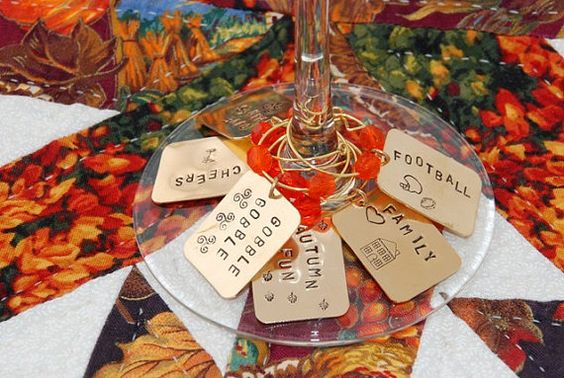 Thanksgiving Drink Charms by FancyGirlDesigns on Etsy, $18.00