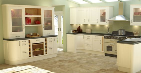Shaker kitchens light airy simple kitchen designs for Green and cream kitchen ideas