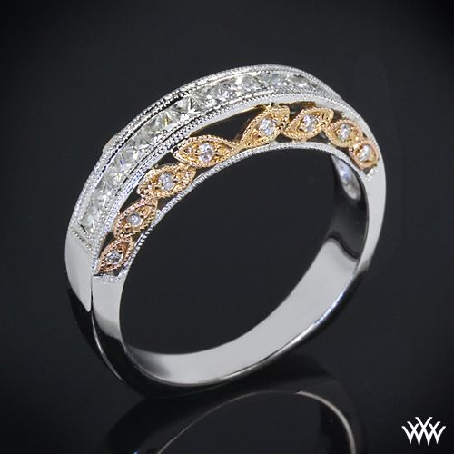 18k White Gold and Rose Gold Delicate Blush Diamond Wedding Ring