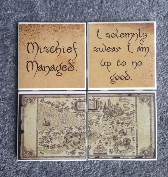 Harry Potter Coasters (Set of 4) Marauders Map Quotes, Hogwarts Map by shopNerdtastic on Etsy