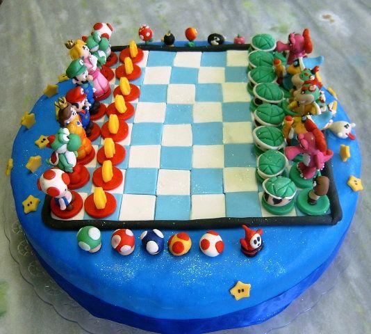 Mario Chess Cake