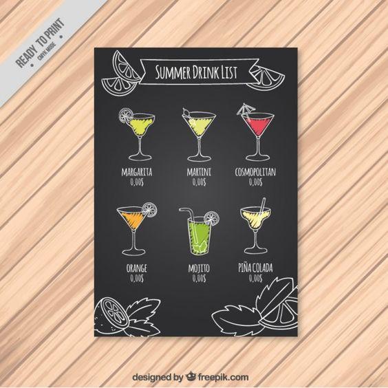 Lista de bebida do verão em um quadro Vetor grátis