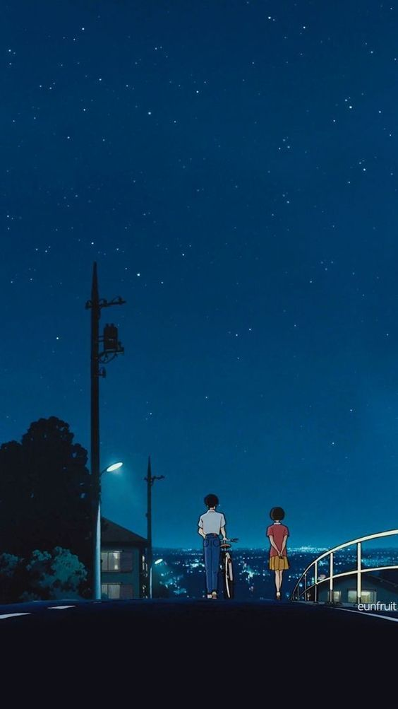 Night Walk In 2020 Anime Scenery Scenery Wallpaper Anime Wallpaper Iphone