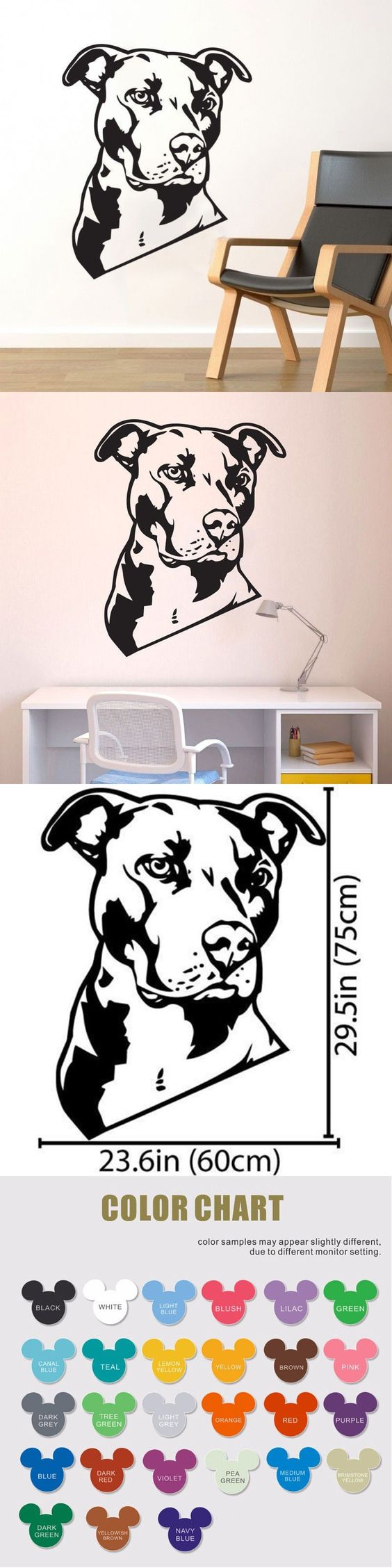 Bulldog Wall Decal Vinyl Sticker - Cute Dog Wallpaper Wall ArtDecor, Dalmatians Mural, Pet Shops, Home Decoration Mural Design $12.99
