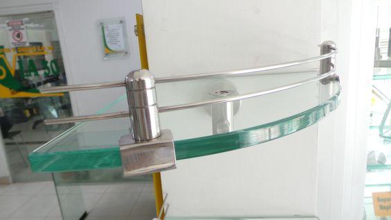 Repisa para ba o en acero inox y vidrio cristal modelo for Repisas para bano rimax