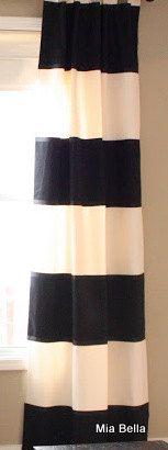 Black White Wide Horizontal Stripe Curtains      by MiaBellaLinens, $115.00