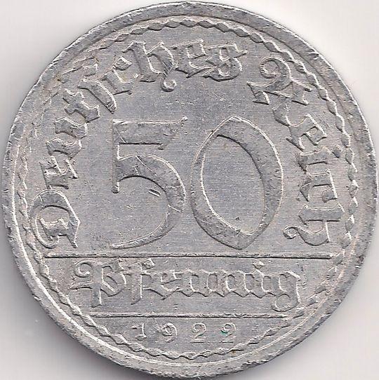 Wertseite: Münze-Europa-Mitteleuropa-Deutsches Reich-Mark-0.50-1919-1922
