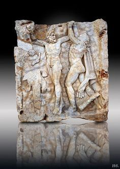 Promethus freed by Hercules.  Roman relief sculpture. Aphrodisias Turkey.        http://hadrian6.tumblr.com