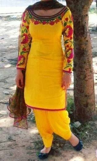 Yellow punjabi suit with embroidery suits and