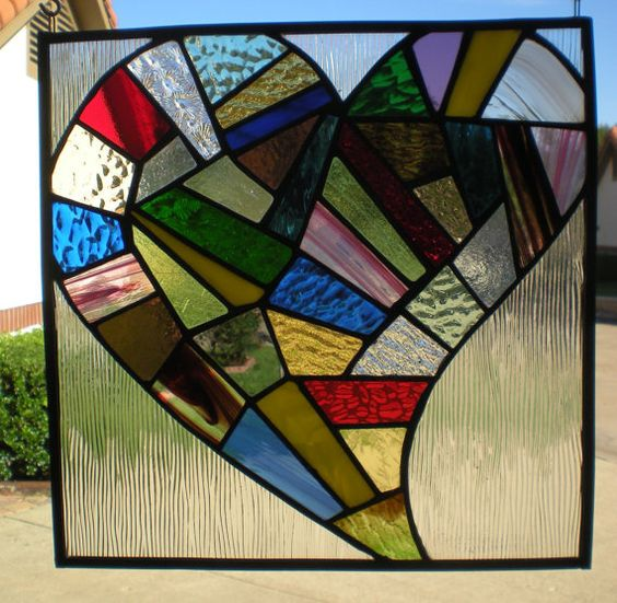Stained Glass Patchwork Heart Panel