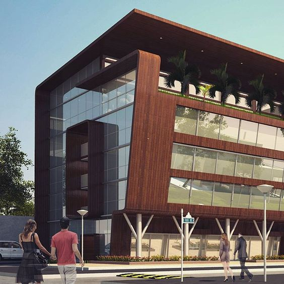 Design architect exterior design and perspective on pinterest for Modern commercial building exterior design