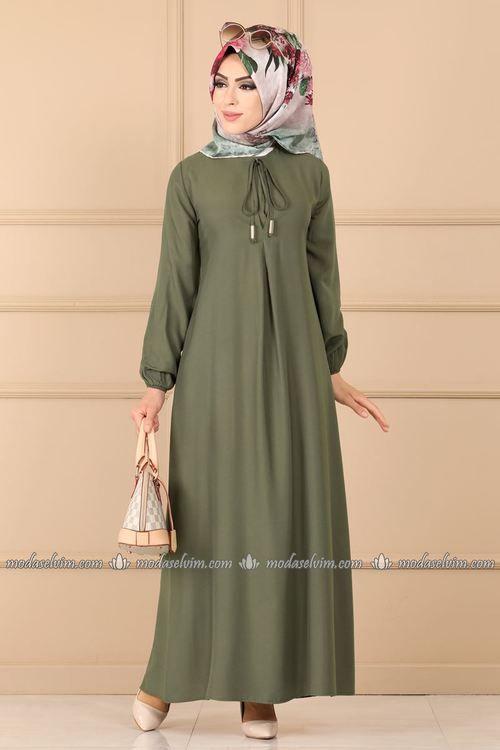 Modaselvim Elbise Bagcik Detay Elbise 1006bgs354 Haki Moda Stilleri Elbise Mutevazi Moda