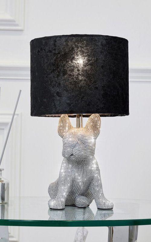 Next Frankie Diamanté Table Lamp, French Bulldog Lamp